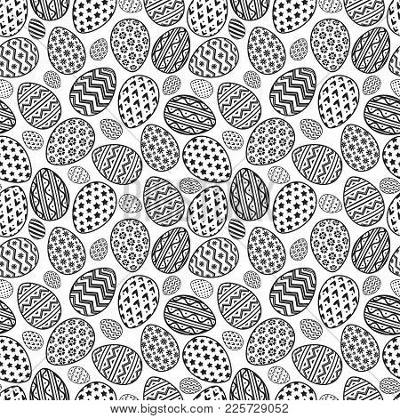Happy Easter Eggs Pattern Black Line Style With Different Pattern For Decoration, Greeting Card, Sal