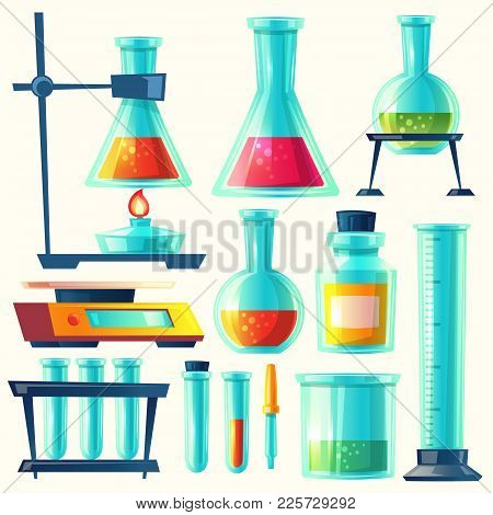 Vector Chemical Equipment For Experiment. Chemistry Laboratory. Flask, Vial, Test-tube, Scales, Glas