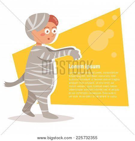 Boy In The Mummy Costume. Isolated Art On White Background. Vector. Cartoon. Flat. Halloween