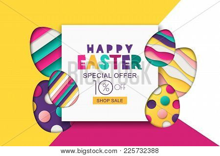 Easter Vector Sale Banner. Decoration Paper Cut Eggs. Design For Holiday Flyer, Poster, Greeting Car