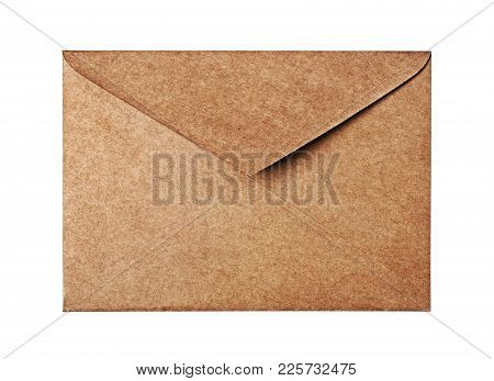Vintage Craft Envelope For Business Correspondence Isolated On White Background