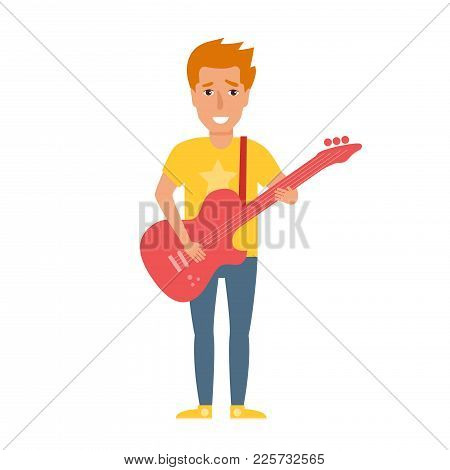 Musical Style. Vector. Cartoon. Isolated Art On White Background. Flat. Rocker With Guitar