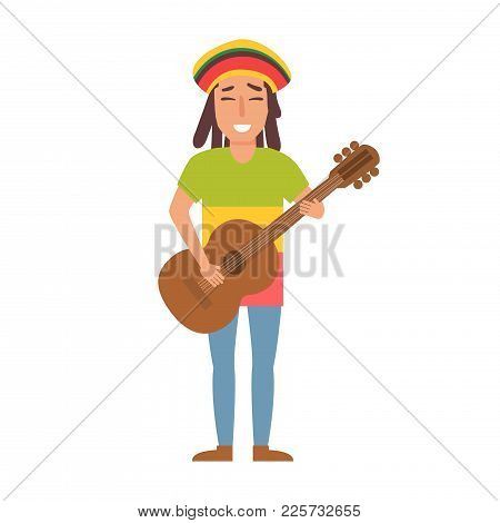 Musical Style. Vector. Cartoon. Isolated Art On White Background. Flat. Rastaman With Guitar