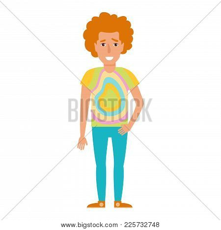 Vector. Cartoon. Isolated Art On White Background. Flat Hippy