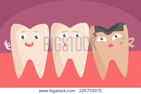 Healthy And Diseased Teeth. Vector. Cartoon. Isolated Art On White Background. Flat