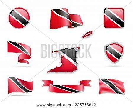 Trinidad And Tobago Flags Collection. Flags And Contour Map. Vector Illustration