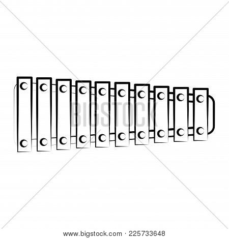 Isolated Xylophone Outline. Musical Instrument. Vector Illustration Design