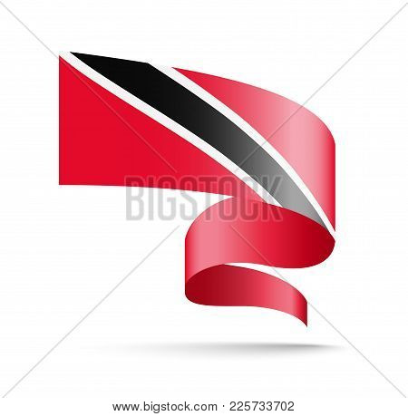 Trinidad And Tobago Flag In The Form Of Wave Ribbon. Vector Illustration On White Background.