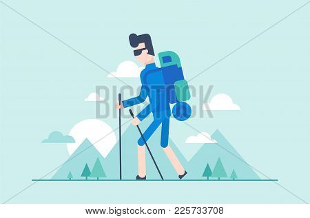Nordic Walking Tour - Modern Flat Design Style Illustration. Young Tourist With Poles, Backpack With