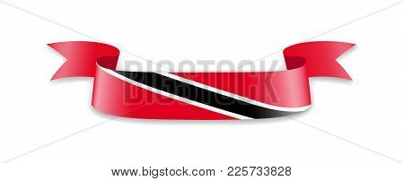 Trinidad And Tobago Flag In The Form Of Wave Ribbon. Vector Illustration.