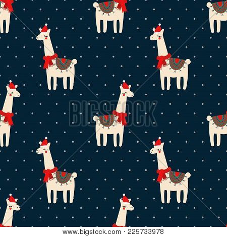 Cute Lama With Xmas Hat Seamless Pattern On Dark Blue Polka Dots Background. Vector Baby Animal Illu