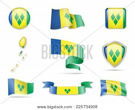 Saint Vincent And The Grenadines Flags Collection. Flags And Contour Map. Vector Illustration