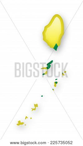 Saint Vincent And The Grenadines Flag And Outline Of The Country On A White Background.