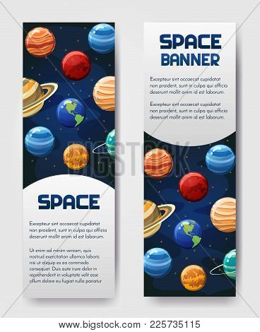 Set Of Vector Flyer, Banner, Brouchure With Planets. Universe, Galaxy, Cosmic Style Label