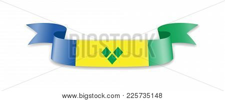 Saint Vincent And The Grenadines Flag In The Form Of Wave Ribbon. Vector Illustration.