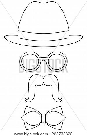 Icon Poster Man Father Dad Day Avatar Set Hat Glasses Mustache Tie. Coloring Book Page For Adults An
