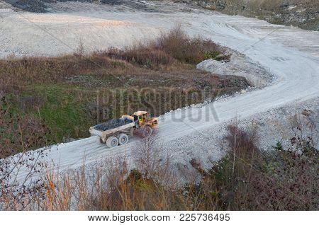 Truck In Faxe Limestone Quarry In Denmark