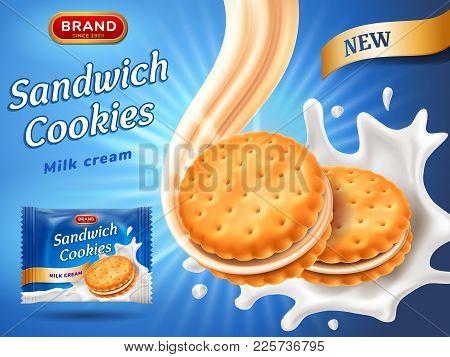 Sandwich Cookies Ads. Delicious Vanilla Cream Flow. Cracker Drop In Milk Splash. Package Design Temp