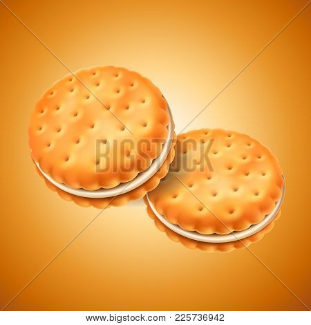 Detailed Sandwich Cookies Or Crackers With Cream Filling. Easy To Use In Design. Food And Sweets, Ba