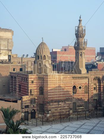 Cairo, Egypt - January 1, 2018: Exterior Facade Of Jawhar Al-lala Mosque