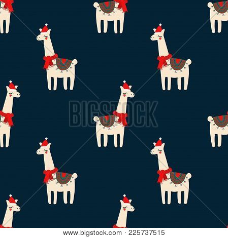 Cute Lama With Xmas Hat Seamless Pattern On Dark Blue Background. Vector Baby Animal Illustration Fo