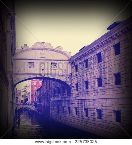 Ancient White Bridge Of Sighs Historical Building In Venice Isle In Italy