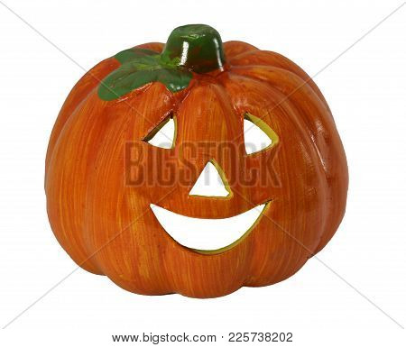 Orange Halloween Pumpkin With Eyes And Laughing Mouth