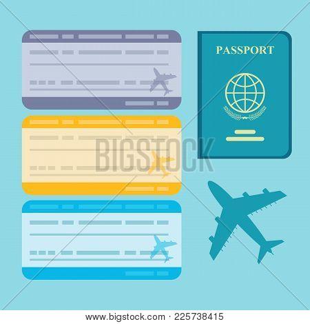 Air Travel Concept. Ticket Flight Air Plane And Passport Traveler. Stock Flat Vector Illustration.