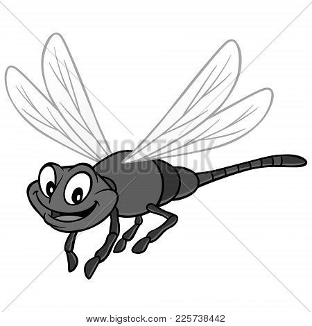 Dragonfly Illustration - A Vector Cartoon Illustration Of A Cute Garden Dragonfly.