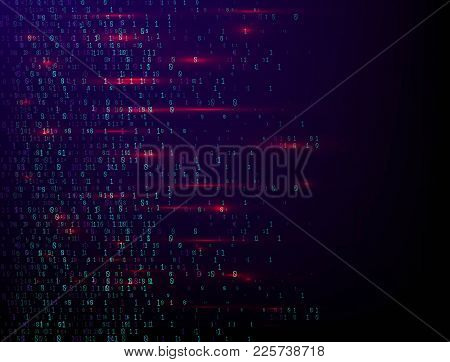 Binary Computer Code. Abstract Technology Background. Digital Binary Data. Matrix, Data, Coding. Vec