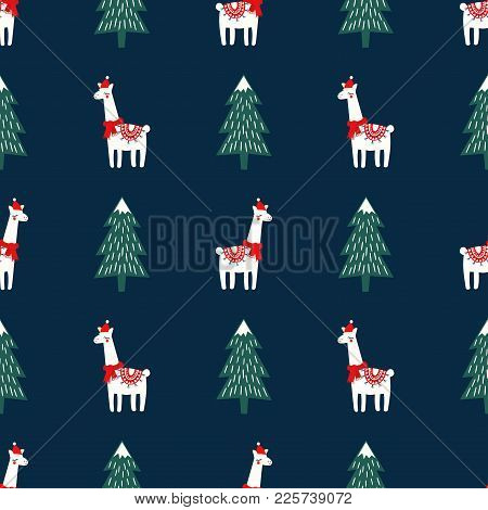 Christmas Tree And Cute Lama With Xmas Hat Seamless Pattern On Dark Blue Background. Vector Xmas Ill