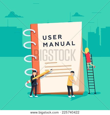 User Manual Flat Style Vector Concept. People, Surrounded With Some Office Stuff, Are Discussing Con