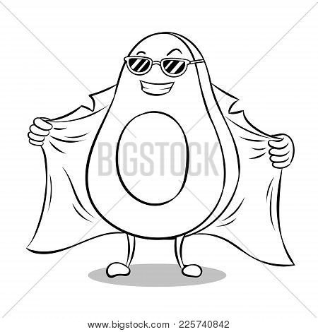 Avocado Exhibitionist In Raincoat Coloring Vector Illustration. Isolated Image On White Background.