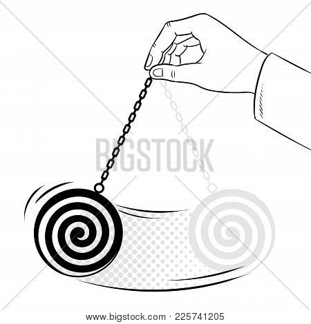 Hypnotizer Pendulum In Hand Coloring Vector Illustration. Isolated Image On White Background. Comic