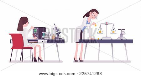 Female Scientist Measuring. Expert Of Physical Or Natural Laboratory In White Coat Doing Research. S