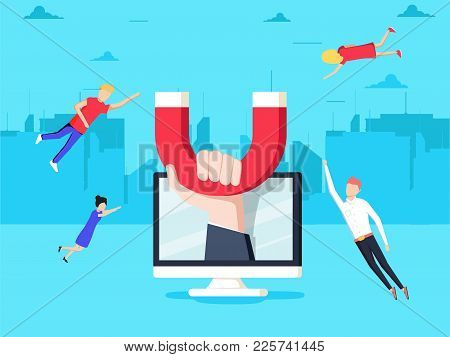 Attracting Online Customers. Hand With Magnet Attract People And Money In Screen. Customer Retention