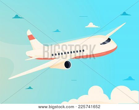 Airplane In Sky Vector Illustration. Commercial Airplane Flying Above Clouds In Sun Light. Passenger
