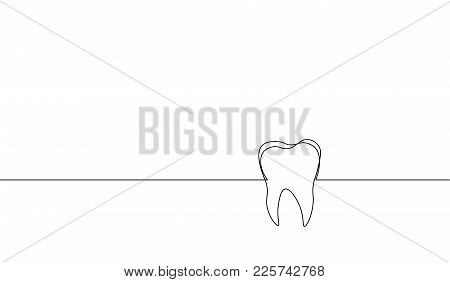 Single Continuous Line Art Anatomical Human Tooth Silhouette. Healthy Medicine Against Molar Enamel