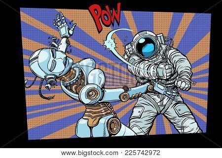 Astronaut Beats Up Female Robot, Domestic Violence. Pop Art Retro Comic Book Vector Cartoon Hand Dra