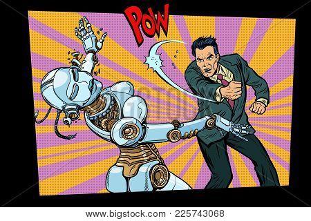 Retro Male Beats Up Female Robot. Domestic Violence, Sex Doll. Pop Art Retro Comic Book Vector Carto