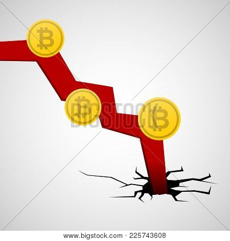 Bitcoin Cryptocurrency Drop, Market Crash, Conceptual Vector Illustration