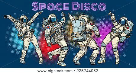 Disco Party Astronauts Dancing Men And Women. Pop Art Retro Comic Book Vector Cartoon Hand Drawn Ill