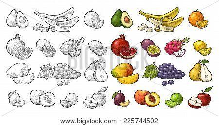 Set Fruits. Mango, Lime, Banana, Maracuya, Avocado, Dragon, Lemon, Orange, Garnet, Peach, Apple, Pea