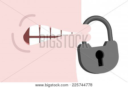 Close Mouth To Lock. Silence Vector Illustration