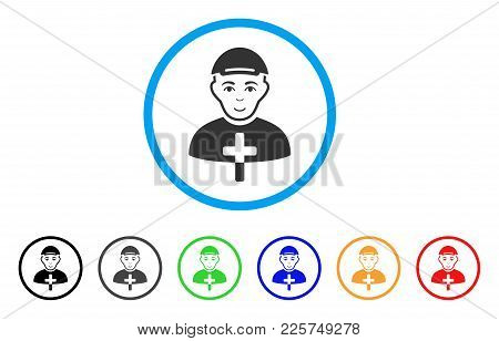 Christian Monk Rounded Icon. Style Is A Flat Christian Monk Gray Symbol Inside Light Blue Circle Wit