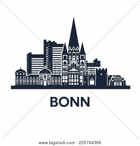 Abstract Skyline Of City Bonn In Germany, Vector Illustration