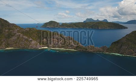 Tropical Islands, Aerial View. Aerial View: Sea And The Tropical Islands. Tropical Bay In El Nido. A