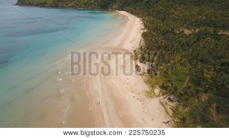 Aerial View Of Beautiful Tropical Island With Sand Beach. Tropical Lagoon With Turquoise Water And Y