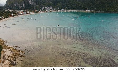 Aerial View Of Sailing Boats And Yachts In The Bay.boat And Yacht In The Tropical Lagoon.aerial View