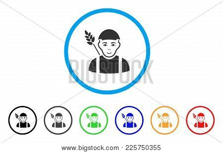 Wheat Farmer Rounded Icon. Style Is A Flat Wheat Farmer Gray Symbol Inside Light Blue Circle With Bl